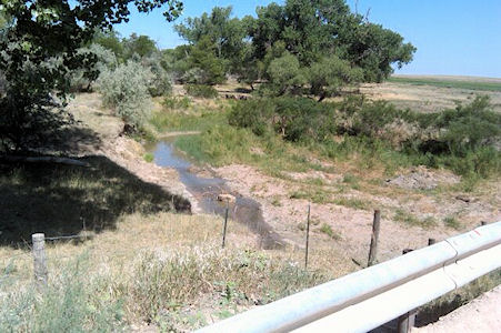 0.44 cfs at South Fork Republican River near CO-KS State Line, KS on July 19, 2012. Photo by Lori Marintzer, USGS.