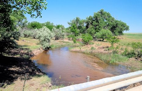 42.6 cfs at South Fork Republican River near CO-KS State Line, KS on June 19, 2015. Photo by Lori Marintzer, USGS.