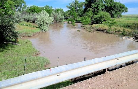 222 cfs at South Fork Republican River near CO-KS State Line, KS on June 6, 2015. Photo by Lori Marintzer, USGS.