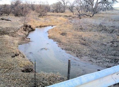 11.6 cfs at South Fork Republican River near CO-KS State Line, KS on Mar. 4, 2013. Photo by Lori Marintzer, USGS.