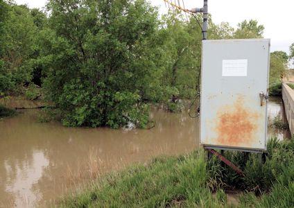 Gage at Sappa Creek near Lyle, KS on May 24, 2014. Photo by Lori Marintzer, USGS.