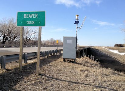 gage at Beaver Creek at Cedar Bluffs, KS on Mar. 6, 2013. Photo by Lori Marintzer, USGS.