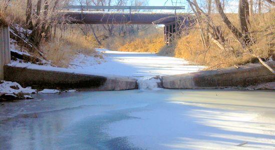 0.07 cfs at Prairie Dog Creek above Keith Sebelius Lake, KS on Dec. 10, 2013. Photo by Andrew Clark, USGS.