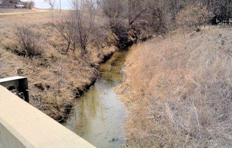 6.73 cfs at Prairie Dog Creek near Woodruff, KS on Mar. 15, 2013. Photo by Lori Marintzer, USGS.