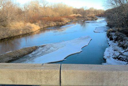 40.1 cfs at Republican River near Hardy, NE on Feb. 5, 2013. Photo by Lori Marintzer, USGS.