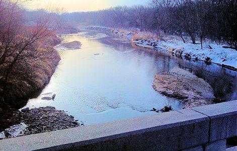 38.8 cfs at Republican River near Hardy, NE on Mar. 14, 2013. Photo by Lori Marintzer, USGS.