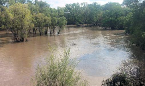 2,840 cfs at White Rock Creek near Burr Oak, KS on May 7, 2015. Photo by Andrew Clark, USGS.
