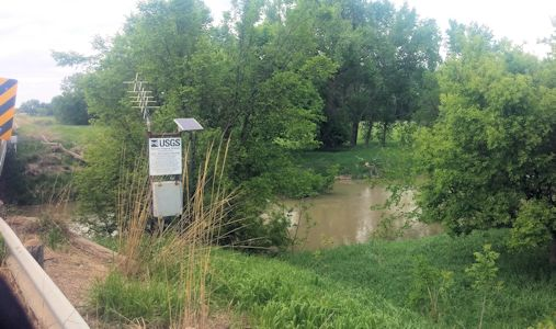 Stage gage at White Rock Creek at Lovewell, KS on May 11, 2015. Photo by Andrew Clark, USGS.