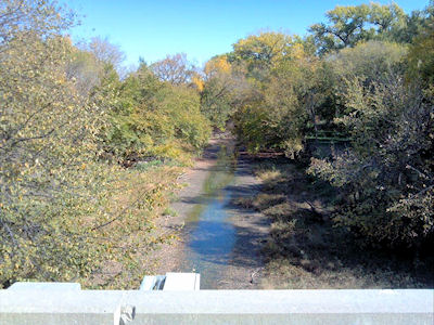 Stage gage at White Rock Creek at Lovewell, KS on Oct. 2, 2012. Photo by Lori Marintzer, USGS.