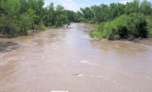 14,400 cfs at Republican River at Scandia, KS on May 7, 2015. Photo by Nathan Sullivan, USGS.