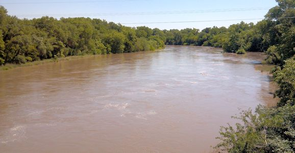6,710 cfs at Republican River at Concordia, KS on Aug. 2, 2013. Photo by Travis See, USGS.