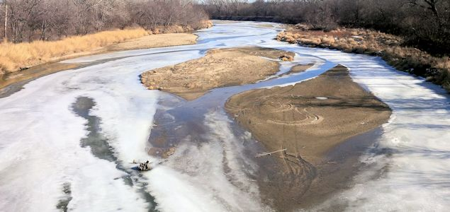 47.6 cfs at Republican River at Concordia, KS on Jan. 13, 2014. Photo by Travis See, USGS.