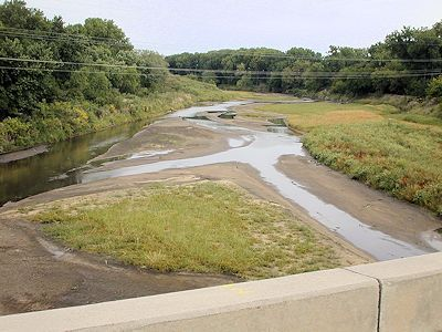 8.18 cfs at Republican River at Concordia, KS on Sept. 12, 2002. Photo by Brian Loving, USGS.