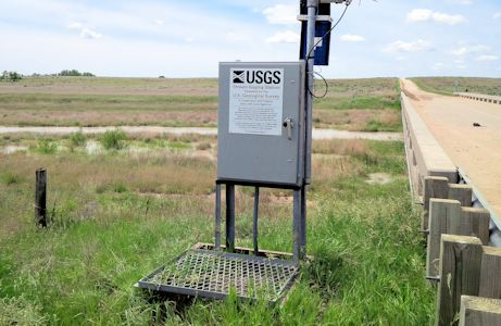 156 cfs at Smoky Hill River near Arnold, KS on May 29, 2015. Photo by Lori Marintzer, USGS.