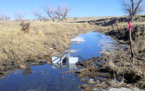 0.08 cfs at Big Creek near Ellis, KS on Jan. 18, 2012. Photo by Nathan Sullivan, USGS.