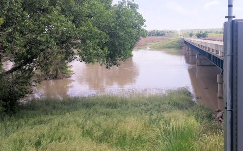 2,420 cfs at Saline River near Russell, KS on May 25, 2016. Photo by Nathan Sullivan, USGS.
