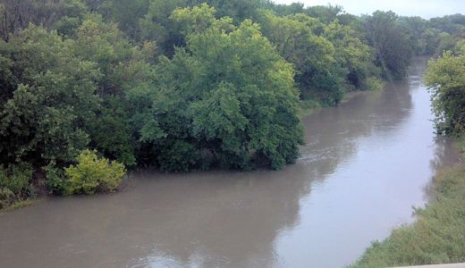 1,414 cfs at Saline River at Lincoln, KS on July 29, 2013. Photo by Andrew Clark, USGS.