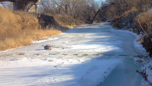 8.04 cfs at South Fork Solomon River at Osborne, KS on Dec. 12, 2013. Photo by Andrew Clark, USGS.