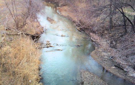 15.1 cfs at South Fork Solomon River at Osborne, KS on Mar. 15, 2013. Photo by Lori Martinzer, USGS.