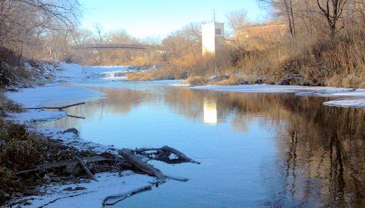 13.6 cfs at Solomon River at Beloit, KS on Dec. 11, 2013. Photo by Andrew Clark, USGS.