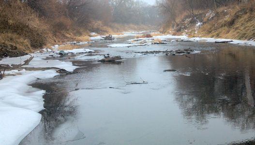 15.6 cfs at Solomon River at Beloit, KS on Jan. 10, 2014. Photo by Andrew Clark, USGS.