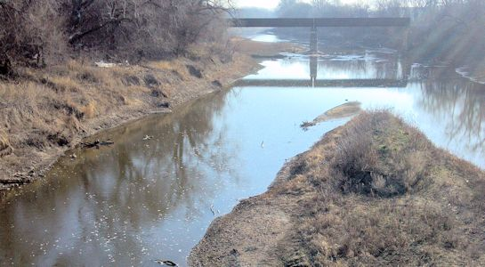 167 cfs at Smoky Hill River at Enterprise, KS on Apr. 3, 2013. Photo by Dirk Hargadine, USGS.