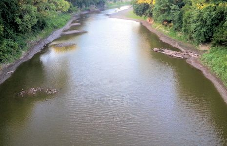 44.4 cfs at Big Blue River at Marysville, KS on Aug. 27, 2013. Photo by Duane Wilmes, USGS.