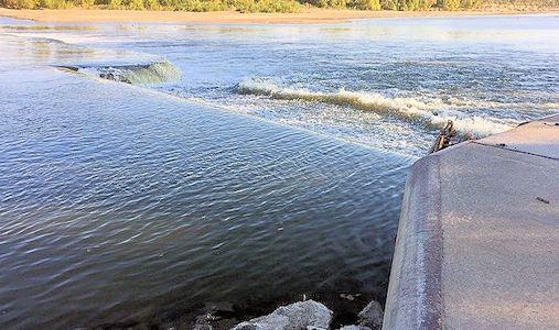 826 cfs at Kansas River at Topeka Water Plant, KS on Oct. 21, 2015. Photo by Brian Loving, USGS.