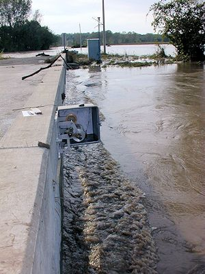 59,600 cfs at Soldier Creek near Delia, KS on Oct. 2, 2005. Photo by Brian Loving, USGS.