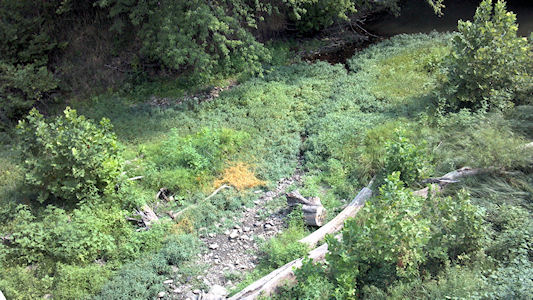 0.00 cfs at Wakarusa River near Richland, KS on Aug. 16, 2012. Photo by Anita Kroska, USGS.