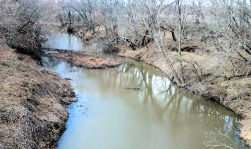 10.6 cfs at Wakarusa River near Richland, KS on Mar. 11, 2013. Photo by Arin Peters, USGS.