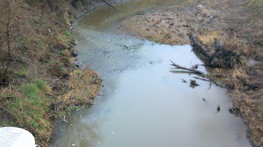 18.4 cfs at Stranger Creek near Potter, KS on Apr. 10, 2013. Photo by Duane Wilmes, USGS.