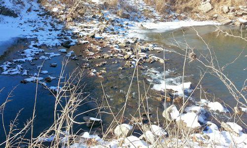 6.91 cfs at Mill Creek at Johnson Drive, Shawnee, KS on Dec. 26, 2013. Photo by Craig Davies, USGS.