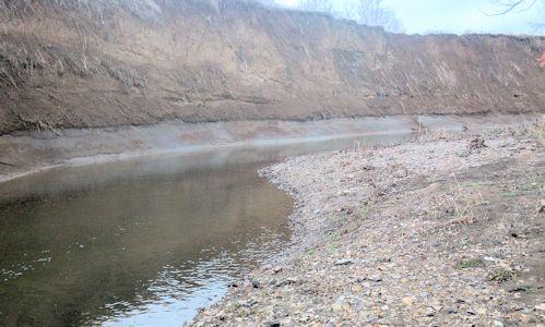 22.5 cfs at Mill Creek at Johnson Drive, Shawnee, KS on Mar. 19, 2013. Photo by Mark Lysaught, USGS.