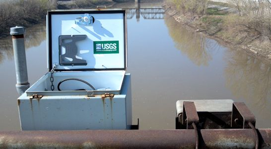 Kansas River at Kansas City, KS on Apr. 25, 2013. Photo by Mark Lysaught, USGS.