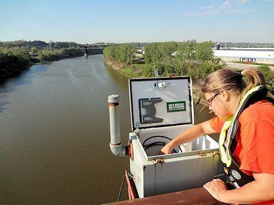 Kansas River at Kansas City, KS on Sept. 12, 2012. Photo by Brian Loving, USGS.