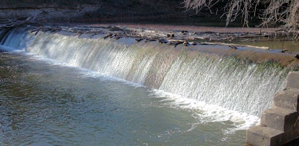 37 cfs at Marais des Cygnes River near Pomona, KS on Feb. 19, 2013. Photo by Anita Kroska, USGS.