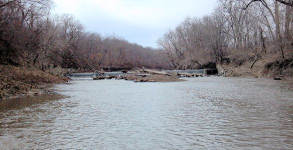 121 cfs at Marais des Cygnes River near Pomona, KS on Mar. 13, 2013. Photo by Anita Kroska, USGS.