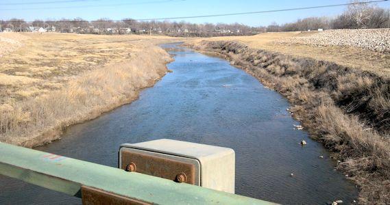 33.6 cfs at Marais des Cygnes River near Ottawa, KS on Feb. 19, 2013. Photo by Anita Kroska, USGS.