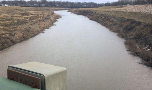 592 cfs at Marais des Cygnes River near Ottawa, KS on Mar. 11, 2013. Photo by Anita Kroska, USGS.