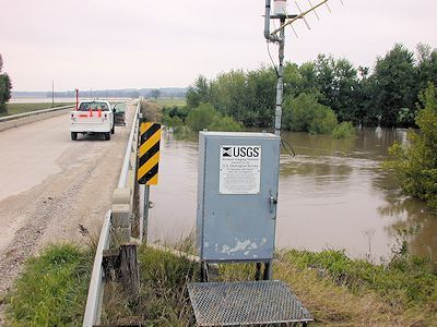 5,740 cfs at Pottawatomie Creek near Scipio, KS on Sept. 1, 2003. Photo by Brian Loving, USGS.