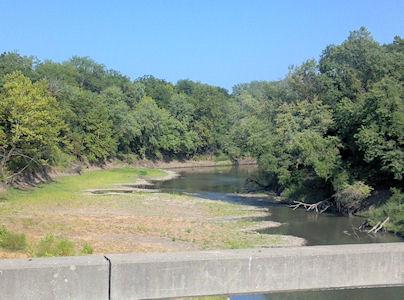 29.6 cfs at Marais des Cygnes River near KS-MO State Line, KS on July 24, 2012. Photo by Anita Kroska, USGS.