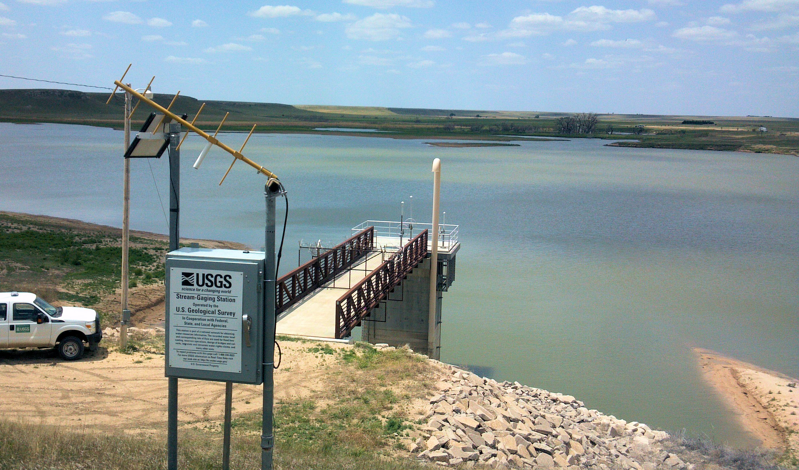 Gage at Horsethief Reservoir near Jetmore, KS on June 4, 2013. Photo by Andrew Clark, USGS.