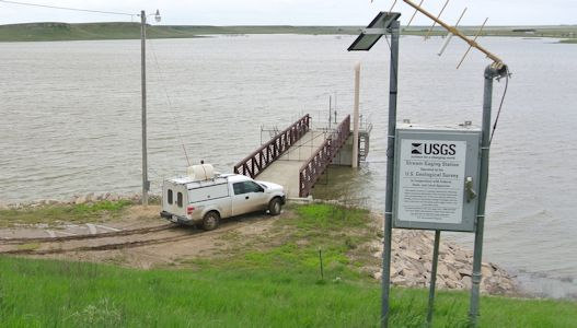 Elevation of 2,419.52 ft at Horsethief Reservoir near Jetmore, KS on May 28, 2015. Photo by Andrew Robison, USGS.
