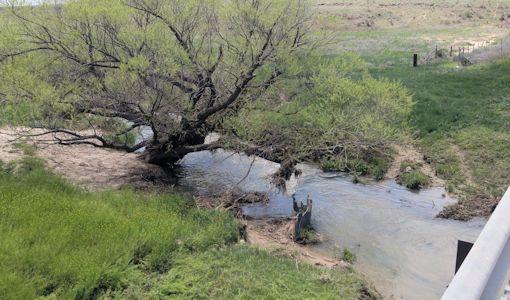 26.5 cfs at Buckner Creek below Horsethief Reservoir near Jetmore, KS on May 3, 2016. Photo by Andrew Clark, USGS.