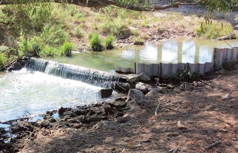 1.44 cfs at Buckner Creek below Horsethief Reservoir near Jetmore, KS on Oct. 8, 2015. Photo by Andrew Clark, USGS.