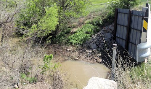 50.4 cfs at Buckner Creek near Jetmore, KS on May 3, 2016. Photo by Andrew Clark, USGS.