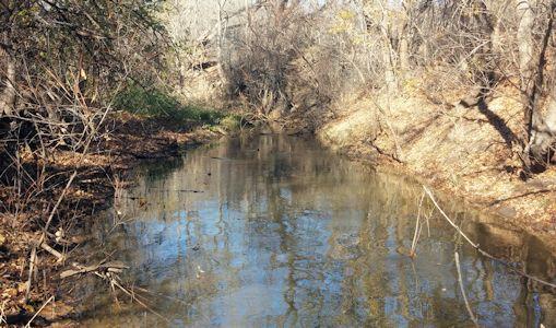 4.70 cfs at Buckner Creek near Jetmore, KS on Nov. 18, 2015. Photo by Andrew Clark, USGS.