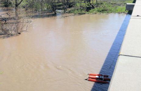 777 cfs at Arkansas River near Larned, KS on Apr. 22, 2016. Photo by Andrew Clark, USGS.
