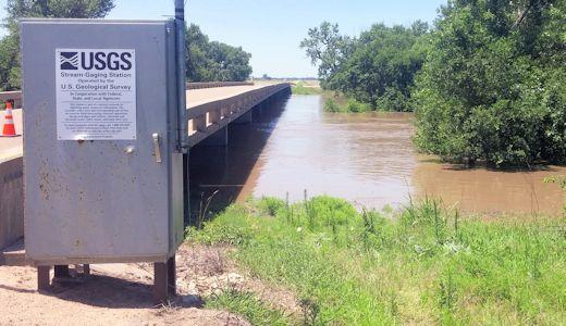 4,440 cfs at Arkansas River near Larned, KS on July 4, 2016. Photo by Nathan Sullivan, USGS.